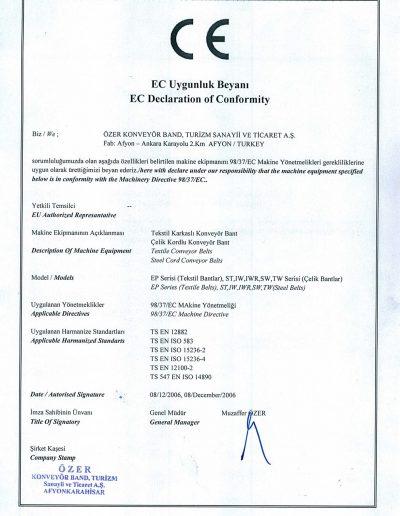 EC Uygunluk Belgesi